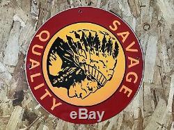 Vintage Munitions Savage Porcelaine Pompe Plaque Gaz Huile Station Service Sign Gun