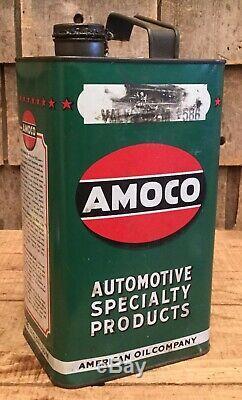 Vintage Nos 1 Gal Amoco Valve Stem # 586 Huile Moteur Tin Can Gas Service Station