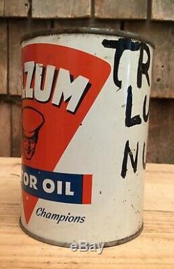 Vintage Oilzum Champion Huile Moteur 1 Qt Tin Can Gas Service Station Connexion Automatique