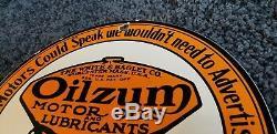 Vintage Oilzum Essence Porcelaine Connexion Gaz Metal Service Station De Pompage Plate Annonce