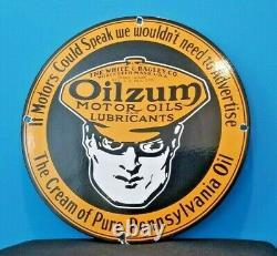 Vintage Oilzum Essence Porcelaine Service Station De Pompe À Gaz Plaque Signe Huile Moteur