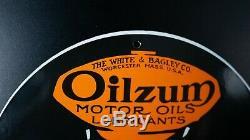 Vintage Oilzum Essence Porcelaine Signe Gaz Pompe À Huile Plate Station Service Moteur
