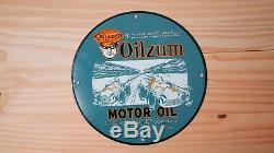 Vintage Oilzum Huile Moteur Porcelaine Signe 12 Service Station De Pompe À Gaz Plate Rare