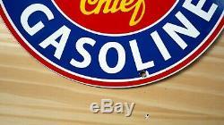 Vintage Oregon Chef Essence Porcelain Signe Gaz Huile Station Service Plate Pompe