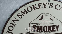 Vintage Ours Smokey Porcelaine Signe Gaz Huile Moteur Station Service Nous Feux De Forêt