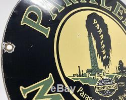 Vintage Paralène Huile Moteur Porcelaine Signe De Pompe À Gaz Plaque Station Service Paragon