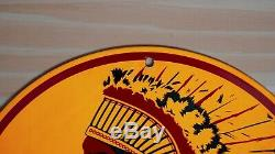 Vintage Penn Chef Indien Porcelain Signe Gaz Pompe À Huile Plate Station Service Rare