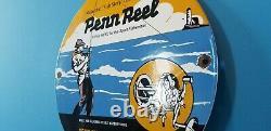 Vintage Penn Reels De Pêche Station D'essence De Porcelaine Tackle Vente Service Lures Sign