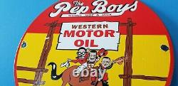 Vintage Pep Boys Motor Oil Porcelain Gas Motor Oil Service Station Pump Signe