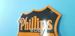 Vintage Phillips 66 Essence Porcelaine Essence Automobile Station De Service De Pétrole Panneau De Plateau