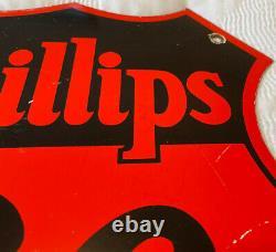 Vintage Phillips 66 Essence Porcelaine Signe Station D'essence Pétrole À Moteur Insigne De Service