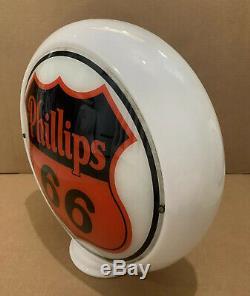 Vintage Phillips 66 Pompe À Gaz Globe Lumière Verre Service Lentille Station Signe Huile