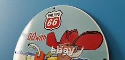 Vintage Phillips Essence Porcelaine Gaz Western Station De Service Cowboy Panneau De Pompe