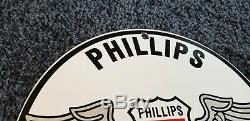 Vintage Phillips Essence Service En Porcelaine De Gaz Aviation Oil Pump Station Sign