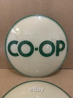 Vintage Pompe Co-op Gaz Globe Objectifs Verre Top Oil Station Service Connexion Garage