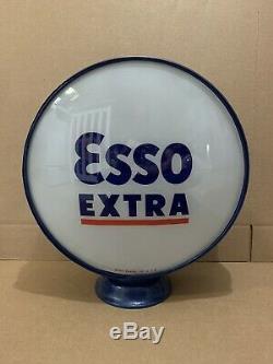 Vintage Pompe Esso Gas Globe Lumière En Verre Service Station Objectif Garage Tiger Supplémentaire