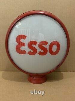 Vintage Pompe Esso Gas Globe Verre Garage Station Service D'origine Ethyl Connexion