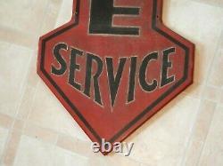 Vintage Rare Ca. Début Des Années 1900 National Tire Service Station-service 48 Metal Signvn
