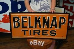 Vintage Rare Signe Tyres Belknap Début Service De Publicité Dealer Station