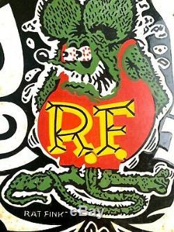 Vintage Rat Fink Porcelaine Pancarte De Métal Gaz De Pompe À Huile Plate Hot Rod Service Station