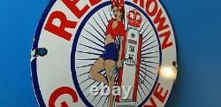 Vintage Red Crown Essence Porcelaine Station D'essence Station D'essence Pin Up Girl Sign