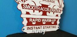 Vintage Red Crown Gasoline Porcelain Gas & Oil Service Station Pump Plate Sign