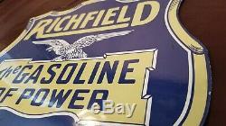 Vintage Richfield Essence Porcelaine Gaz Huile Service Station De Pompage Plate Sign