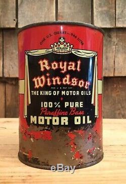 Vintage Royal Windsor Huile Moteur 1 Qt Tin Can Gas Service Station Connexion Automatique