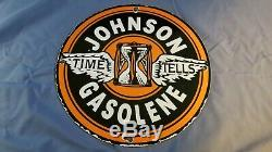 Vintage Service Johnson Essence Porcelaine Signe Station Pompe Plate Annonce