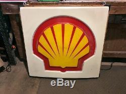 Vintage Service Shell Gas Light Station Sign Up Antique