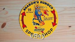 Vintage Service Sunoco Essence Porcelain Sign Gas Station Pompe À Huile Plate Rare