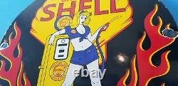 Vintage Shell Essence Essence Station-service Shell Clam & Flames Signe