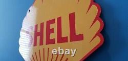 Vintage Shell Essence Porcelain Gas Oil Service Station 14 Pump Plate Sign