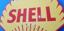 Vintage Shell Essence Porcelain Gas Oil Service Station Grand Panneau De Plaque De Pompage