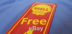 Vintage Shell Essence Porcelaine Libre Service Gaz Air Pump Station Sign Plate