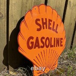 Vintage Shell Essence Porcelaine Métal Signe USA Oil Gas Station Large