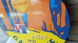 Vintage Shell Essence Porcelaine Station Service Huile Moteur De La Pompe Plaque Signe