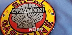Vintage Shell Essence Service En Porcelaine Aviation Station Pump Plate Sign