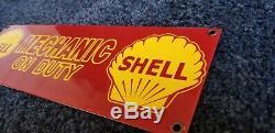 Vintage Shell Essence Service En Porcelaine Station Pompe Plaque De Signalisation Mécanique