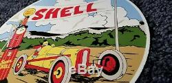 Vintage Shell Essence Service Station Porcelaine De Super Gas Racing Pump Sign