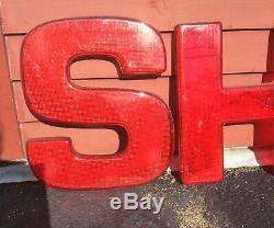 Vintage Shell Gas & Oil Stations-service Lettres Réfléchissantes Signe W Boîte Originale