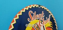 Vintage Silencieux Chef Essence Station Service En Porcelaine De Gaz Signe La Pompe Américaine