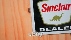 Vintage Sinclair Dino Concessionnaire Porcelain Signe Gaz Pompe À Huile Plaque Station Service