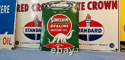 Vintage Sinclair Essence Porcelaine Gaz Huile Lube Service Station De Pompage Plate Sign