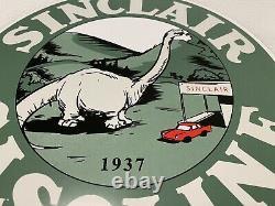 Vintage Sinclair Gasoline Porcelain Sign Gas Station Pump Plate Motor Service
