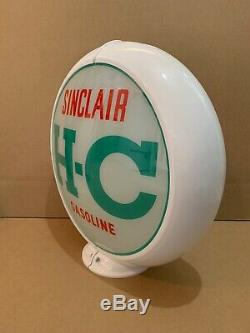 Vintage Sinclair H-c Pompe À Gaz Globe Lumière En Verre Service Station Objectif Garage Huile