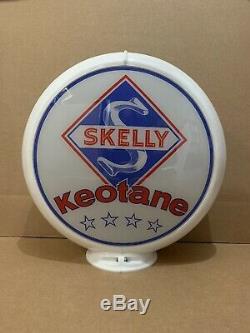 Vintage Skelly Keotane De Pompe À Gaz Globe Lumière Lentille En Verre Station Service Garage