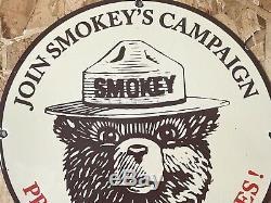 Vintage Smokey Ours Porcelaine Signe Essence Gaz Huile Station Service Plate Pompe