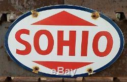Vintage Sohio Essence Porcelaine Station Service Huile Moteur De La Pompe Plaque Signe
