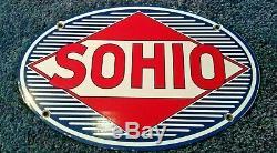 Vintage Sohio Porcelaine Service Station Oil Gas Pump Plate Standard Pancarte De Métal